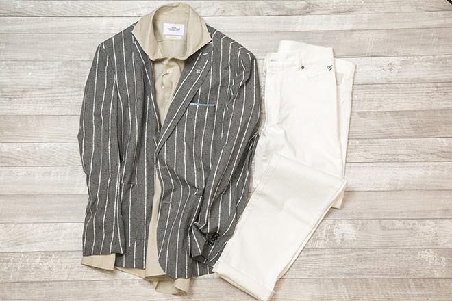 サマージャケット、麻シャツ、ホワイトデニム